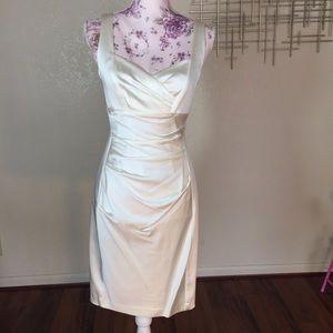 Donna Morgan Sophia pleated bodice ivory dress